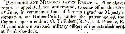 Regattas have been held since Victorian times. This notice is from an 1848 Pembrokeshire Herald